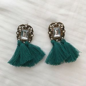 Green tassel statement earrings